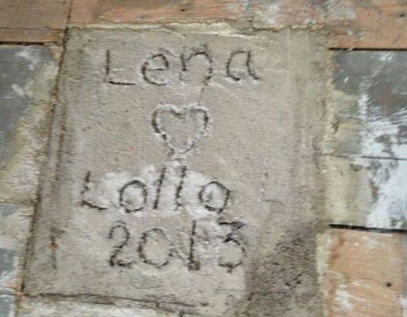betong med Lena hjärta Lollo 2013 inristat