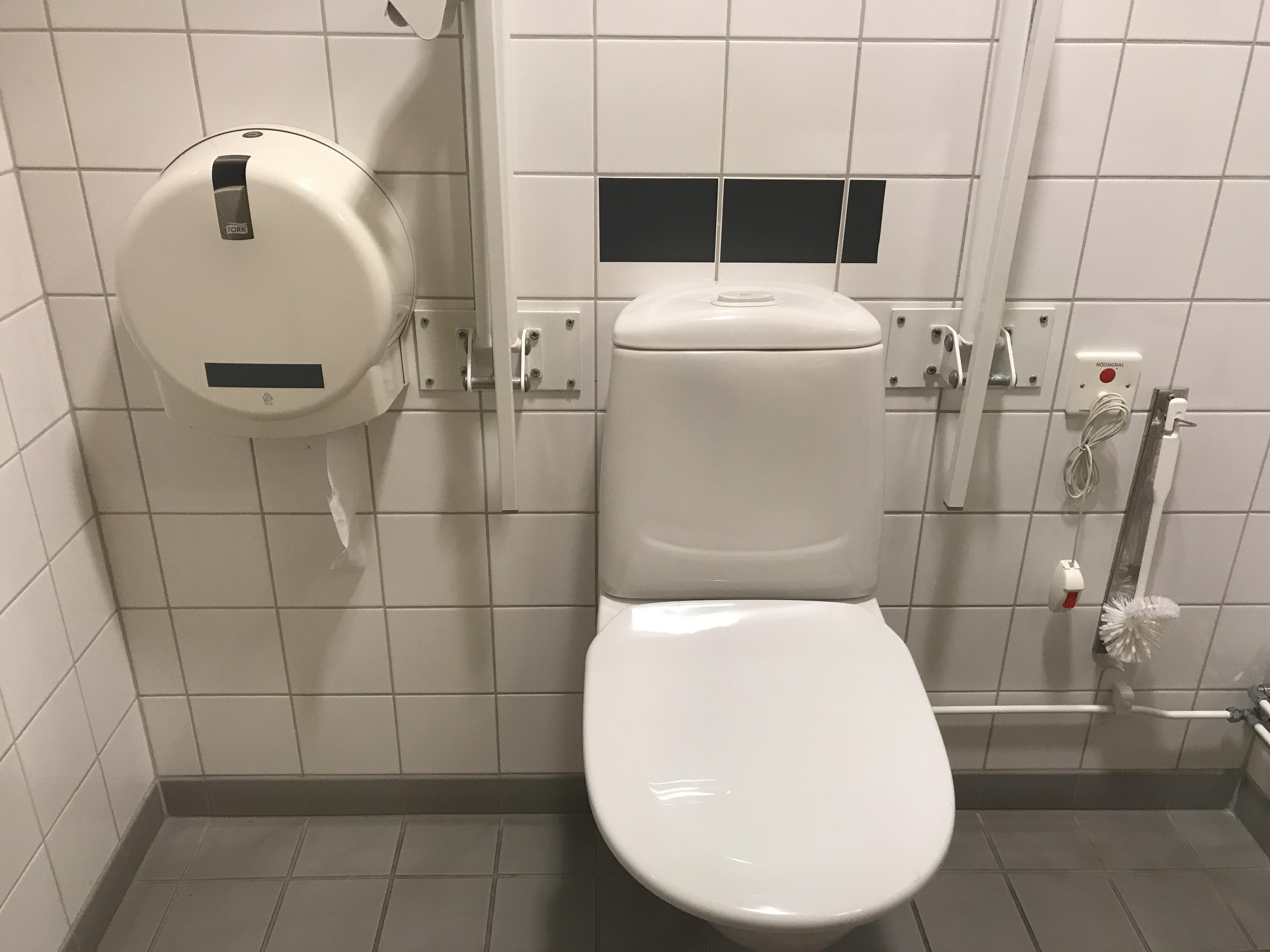 Handikapptoa med toapapperet i en låst håööare på väggen bakom toaletten.